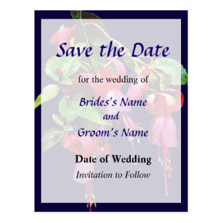 Elegant Fuscia Marshia Save the Date Post Card