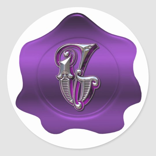 Elegant G Monogram Purple Wax Seal Look Sticker