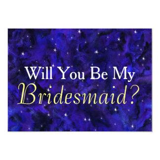 Elegant Galaxy Will You Be My Bridesmaid Card