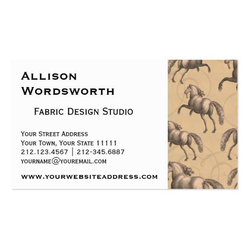 Elegant Galloping Spanish Horse Business Cards