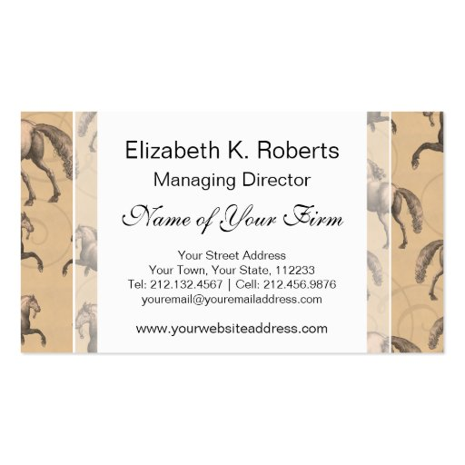 Elegant Galloping Spanish Horse Business Card Template