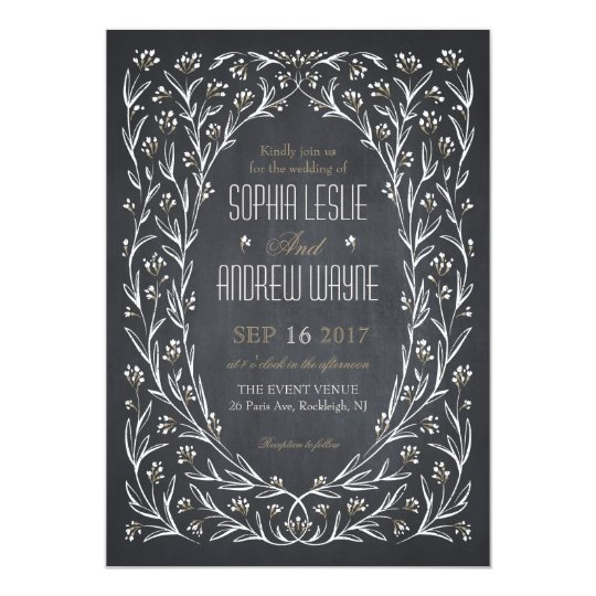 Elegant garden floral chalkboard rustic wedding card