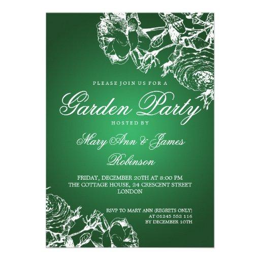 Elegant Garden Party Roses Green Invitation