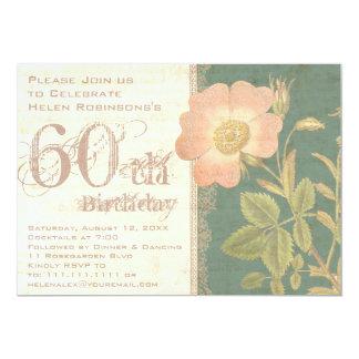 Elegant Gardener's 60th Birthday Vintage Rose 13 Cm X 18 Cm Invitation Card