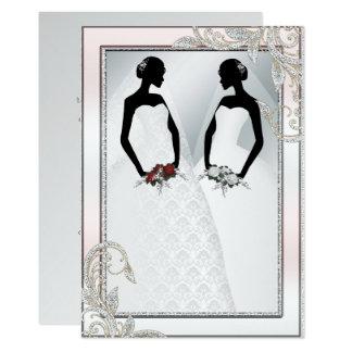 Elegant Gay Silver Wedding Invitation