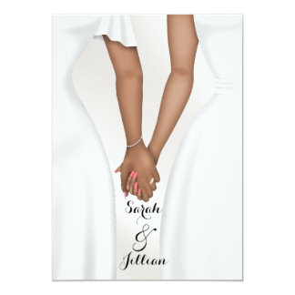 Elegant Gay Wedding Bride Holding Hands Ethnic Card