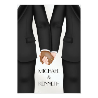Elegant Gay Wedding Groom Holding Hands Ethnic Card