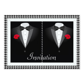Elegant Gay Wedding Invitation with Two Tuxedos