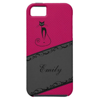 Elegant gentle stripes lace black cat personalized iPhone 5 covers