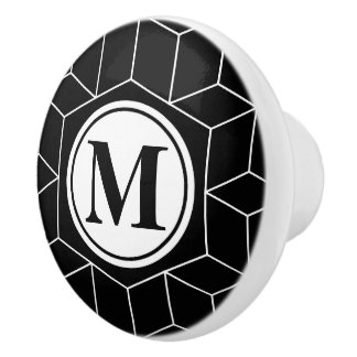 Elegant Geometric and Monogrammed Pattern Ceramic Knob