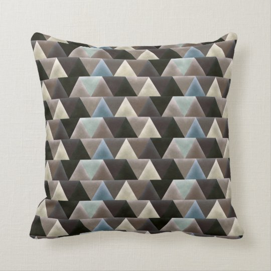 Elegant Geometric Blue Brown Faux Velvet Cushion
