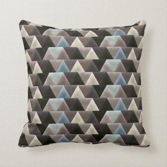 Elegant Geometric Blue Brown Faux Velvet Throw Pillow