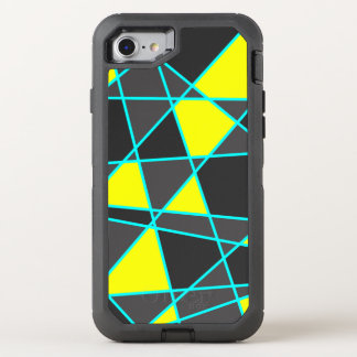 elegant geometric bright neon yellow and mint OtterBox defender iPhone 8/7 case