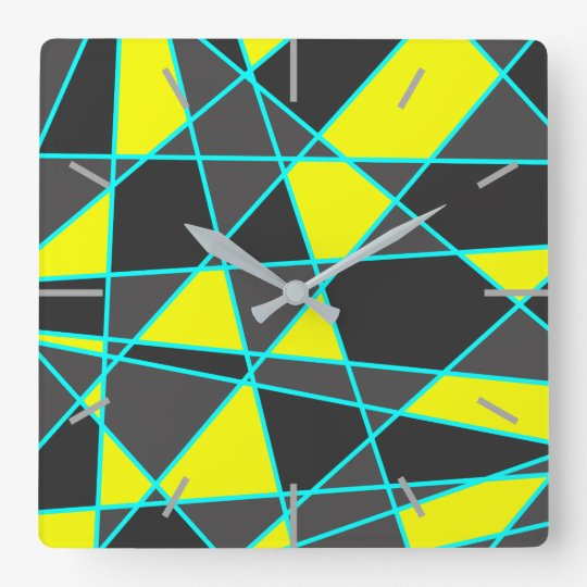 elegant geometric bright neon yellow and mint square