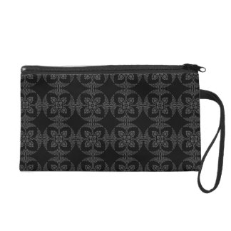 Elegant Geometric Floral in Black and Gray Wristlet Purse