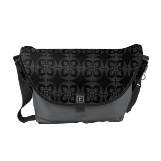 Elegant Geometric Floral in Black and Gray Courier Bags