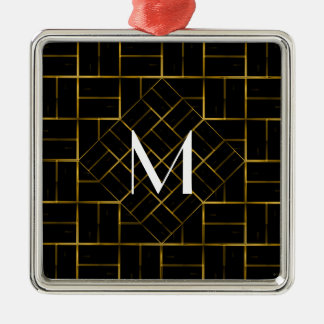Elegant Geometric Gold Art Deco Pattern  Monogram Christmas Ornament