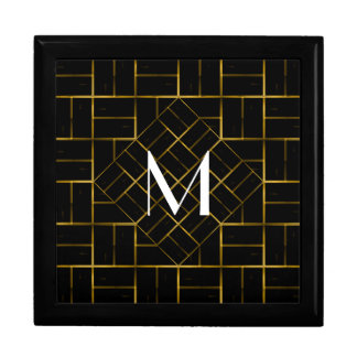 Elegant Geometric Gold Art Deco Pattern  Monogram Gift Box