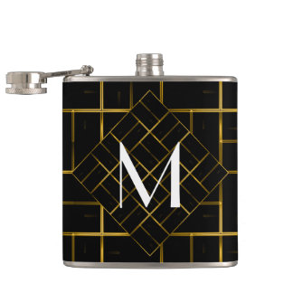 Elegant Geometric Gold Art Deco Pattern  Monogram Hip Flask