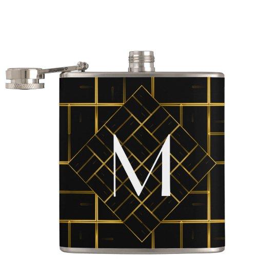Elegant Geometric Gold Art Deco Pattern Monogram Hip