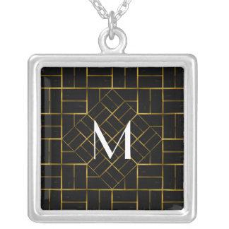 Elegant Geometric Gold Art Deco Pattern  Monogram Silver Plated Necklace