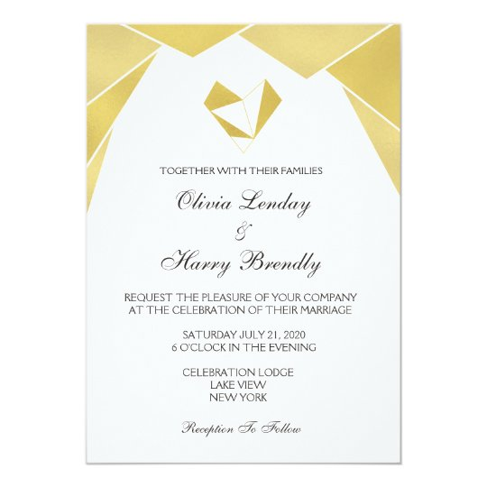 Elegant Geometric Gold Heart Wedding Invitations