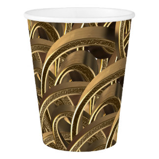 Elegant Geometric Gold Pattern Party Cups