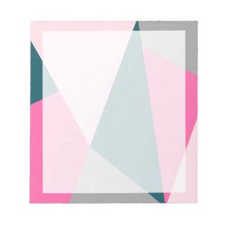 Elegant geometric hot pink emerald green pastel notepad