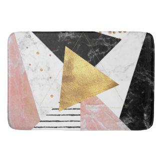 Elegant geometric marble and gold design bath mat