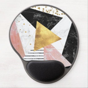 Elegant geometric marble and gold design gel mouse mat