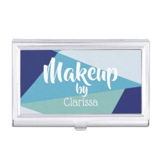 Elegant geometric navy blue and sea green pastel business card holder