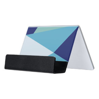 Elegant geometric navy blue and sea green pastel desk business card holder