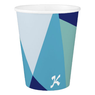 Elegant geometric navy blue and sea green pastel paper cup