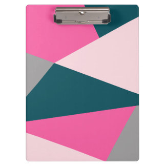 Elegant geometric pastel hot pink emerald green clipboard