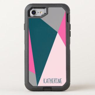 Elegant geometric pastel hot pink emerald green OtterBox defender iPhone 8/7 case