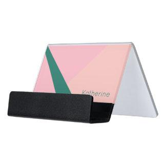 Elegant geometric pastel pink peach green desk business card holder