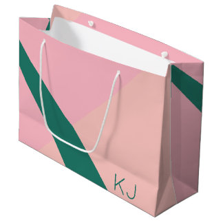 Elegant geometric pastel pink peach green large gift bag