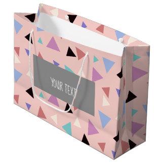 Elegant geometric pattern pink purple mint black large gift bag