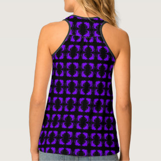 Elegant Geometric Pattern Purple Black Tank Top