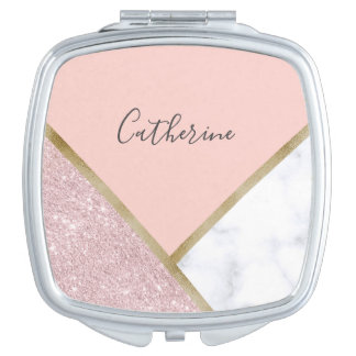 Elegant geometric rose gold glitter white marble compact mirror