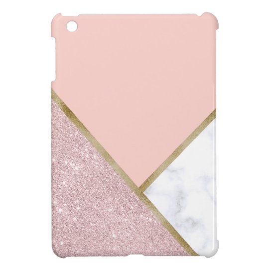 Elegant geometric rose gold glitter white marble iPad
