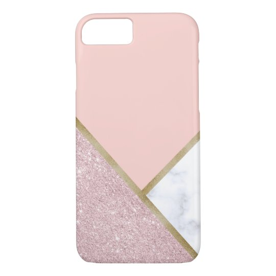Elegant geometric rose gold glitter white marble iPhone