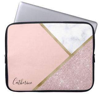 Elegant geometric rose gold glitter white marble laptop sleeve