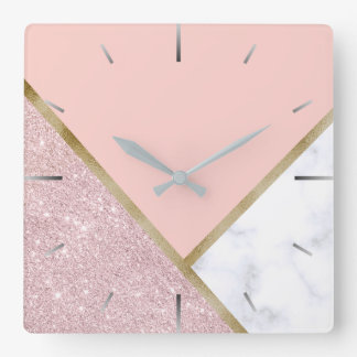 Elegant geometric rose gold glitter white marble square wall clock