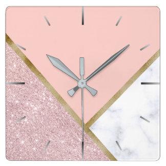 Elegant geometric rose gold glitter white marble square wall clock