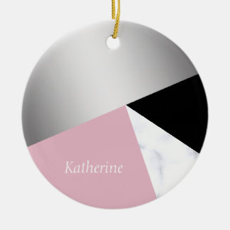 Elegant geometric silver white marble pink black christmas ornament