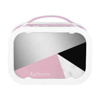 Elegant geometric silver white marble pink black lunch box