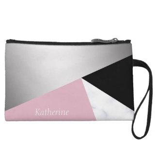 Elegant geometric silver white marble pink black wristlet