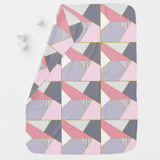 Elegant geometric stripes polka dots pastel baby blanket