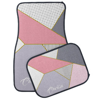 Elegant geometric stripes polka dots pastel car mat